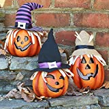 Prextex Set di Tre Zucche Decorate Felici per Halloween Illuminate Zucca in Schiuma Decorativa per Fantastiche Case Stregate Decorazioni per Halloween
